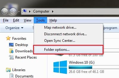Folder Options Navigate