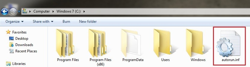 autorun file on drive