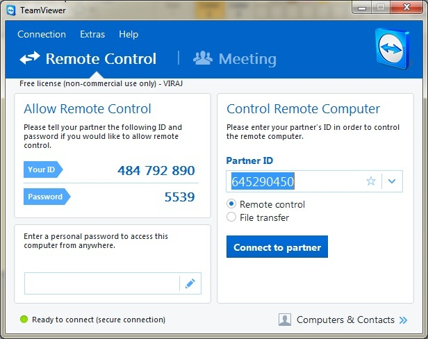 TeamViewer PC Interface