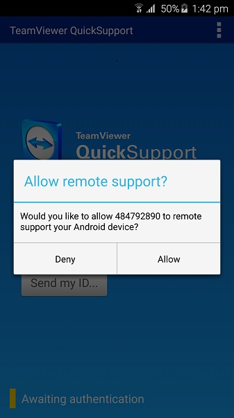 TeamViewer QS Connection Prompt