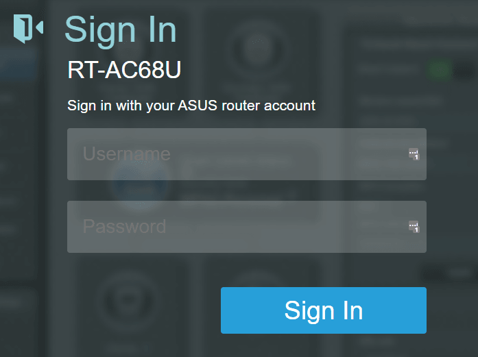 ASUS RT-AC68U Router Login Page